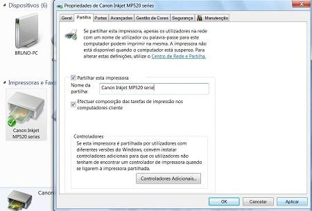 compartilhar impressora windows 7