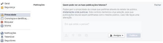 como bloquear o mural do facebook