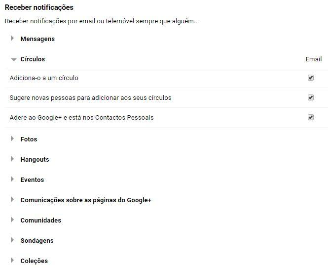 notificações do google+