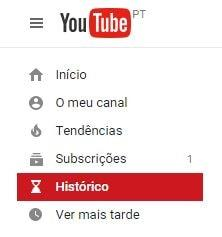 como apagar historico do youtube
