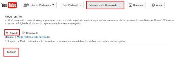 como bloquear videos no youtube