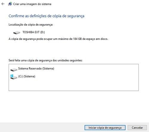 como fazer backup no windows 10