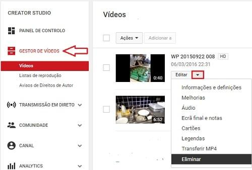 como apagar video do youtube