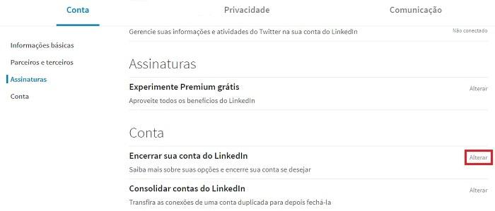como excluir conta do linkedin