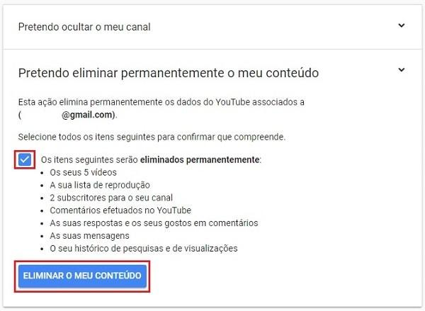 como excluir canal do youtube